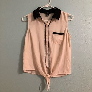 F21 Self Tie Button-Down Top